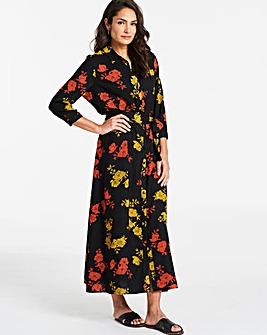 Floral Print Long Line Shirt Dress
