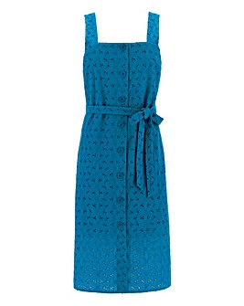 Blue Broderie Square Neck Dress