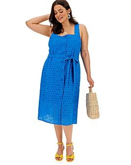 Blue Broderie Square Neck Dress