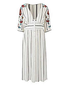 Embroidered Sleeve Midi Dress