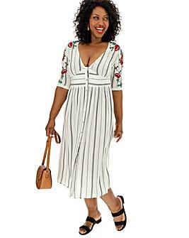 Embroidered Sleeve Midi Dress