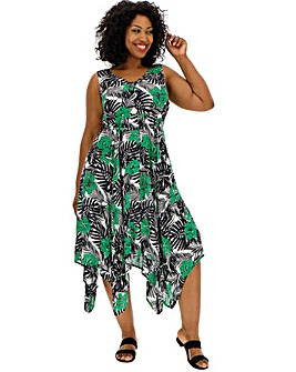 Printed Hanky Hem Sun Dress