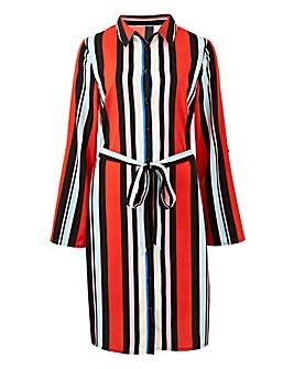 Red Stripe Mini Shirt Dress