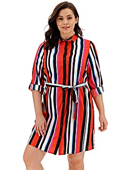 Red Stripe Mini Shirt Dress