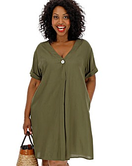 Soft Khaki Shirt Shift Dress