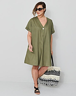 8b3642f9afc Soft Khaki Shirt Shift Dress