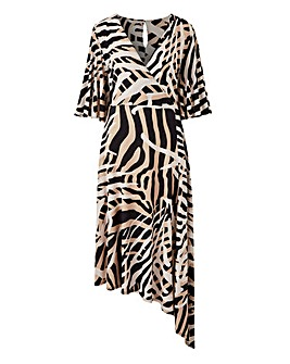 Animal Print Asymmetric Hem Dress
