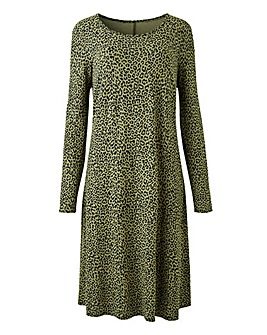 Khaki Leopard Print Swing Dress