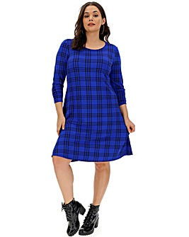 Blue Check Swing Dress