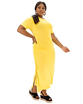 Acid Yellow Ruched Side T-Shirt Dress