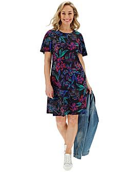 Black Printed Short Sleeve Swing Dress