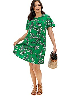 Green Printed Short Sleeve Swing Dress