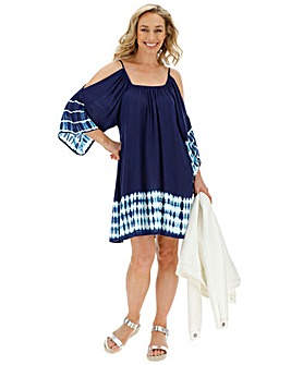 Blue Tie Dye Swing Cold Shoulder Dress