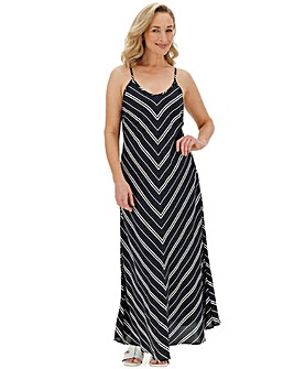 Black/Ivory Chevron Maxi Dress