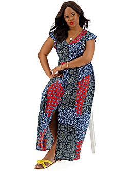 Patchwork Print Ruffle Sleeve Maxi Dress