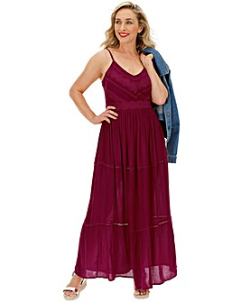 Berry Embroidered Crinkle Maxi Dress
