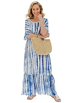 Tie Dye Crinkle Square Neck Maxi Dress