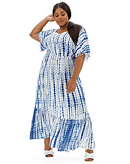 Blue Tie Dye Crinkle Square Neck Maxi Dress