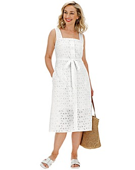 Ivory Broderie Square Neck Dress
