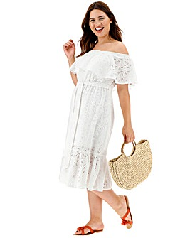 Ivory Bardot Broderie Dress