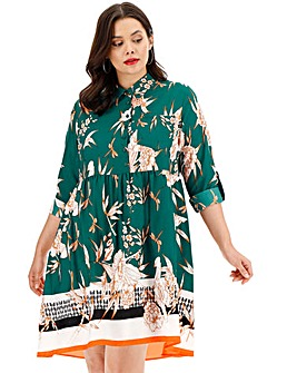Border Print Smock Shirt Dress