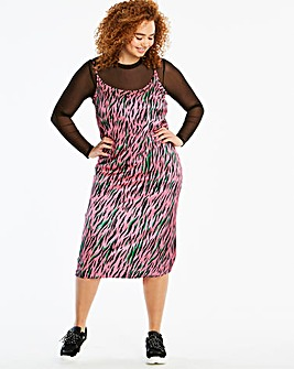 Pink/Green Zebra Print Cami Midi Dress