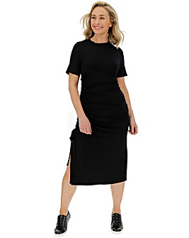 Black Ruched Side T-Shirt Dress