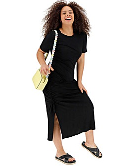 Black Ruched Side T-Shirt Dress