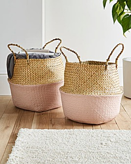 Set of 2 Colour Dipped Storage Baskets