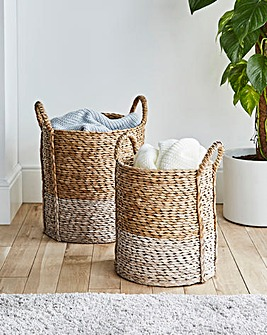 Set of 2 Wicker Storage Baskets