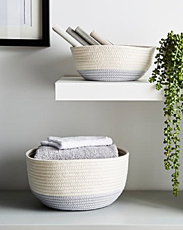 Set of 2 Cotton Rope Storage Basket