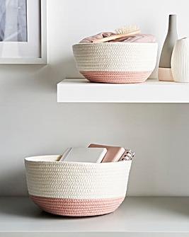 Set of 2 Cotton Rope Storage Basket