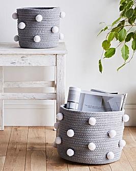 Set of 2 Pom Pom Storage Baskets