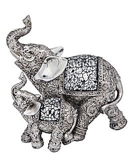 Silver Elephant Mother & Child