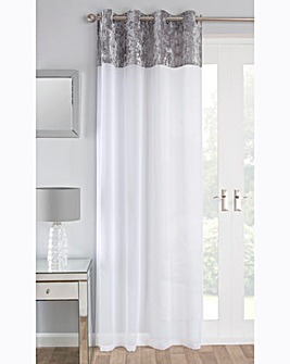 Crushed Velvet Border Voile Panel