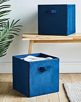 Set of 2 Velvet Storage Baskets