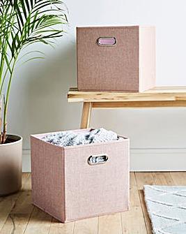 Set of 2 Faux Linen Storage Baskets