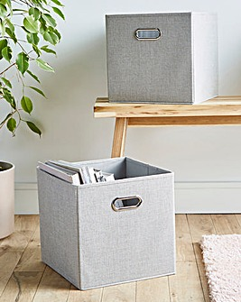 Set of 2 Faux Linen Storage Baskets