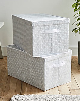 Set of 2 Geometric Storage boxes with Lids