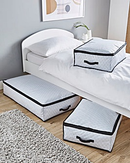 Set of 3 Geometric Underbed Storage Baskets