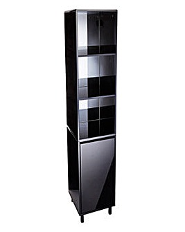 Sophia Black Gloss Mirrored Tall Boy