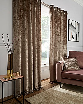 Crushed Velvet Long Length Lined Eyelet Curtains