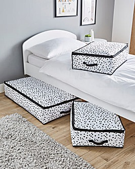 Set of 3 Spotty Underbed Storage Boxes