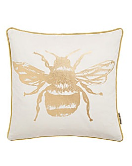 Metallic Bee Feather Filled Cushion