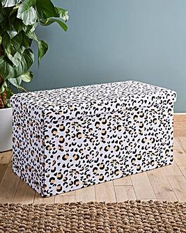 Leopard Print Storage Ottoman