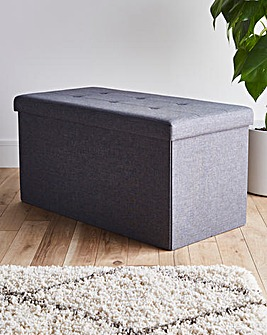 Charcoal Fabric Storage Ottoman