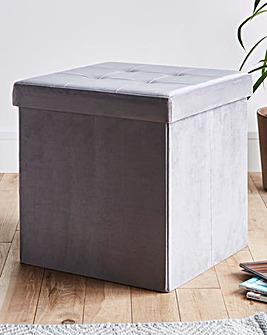 Grey Velvet Storage Cube