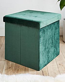 Green Velvet Storage Cube