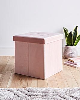 Blush Velvet Storage Cube