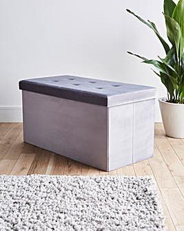 Grey Velvet Storage Ottoman